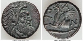 CIMMERIAN BOSPORUS. Panticapaeum. 4th century BC. AE (20mm, 6.81 gm, 4h). XF. Head of bearded Pan right / Π-A-N, forepart of griffin left, sturgeon le...