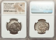 MYSIA. Pergamum. Ca. 180/167-133 BC. AR cistophorus (28mm, 12h). NGC XF. Ca. 160-150 BC. Serpent emerging from cista mystica; all within ivy wreath / ...