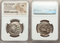 MYSIA. Pergamum. Ca. 180/167-133 BC. AR cistophorus (30mm, 12h). NGC XF. Ca. 160-150 BC. Serpent emerging from cista mystica; all within ivy wreath / ...