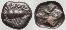 IONIA. Ephesus. Ca. 550-500 BC. AR obol (7mm, 0.43 gm). XF. Bee seen from above / Quadripartite incuse square punch, partially filled. Cf. Karwiese se...