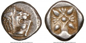 IONIA. Miletus. Ca. late 6th-5th centuries BC. AR 1/12 stater or obol (10mm). NGC Choice XF. Milesian standard. Forepart of roaring lion right, head r...