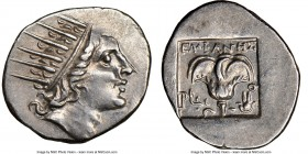 CARIAN ISLANDS. Rhodes. Ca. 88-84 BC. AR drachm (16mm, 11h). NGC AU. Plinthophoric standard, Euphanes, magistrate. Radiate head of Helios right / EYΦA...