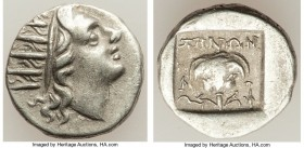 CARIAN ISLANDS. Rhodes. Ca. 88-84 BC. AR drachm (14mm, 2.15 gm, 12h). VF. Plinthophoric standard, Zenon, magistrate. Radiate head of Helios right / ZH...