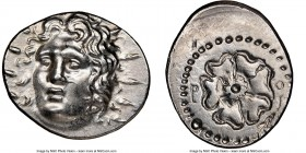 CARIAN ISLANDS. Rhodes. Ca. 84-30 BC. AR drachm (20mm, 3.99 gm, 3h). NGC MS 5/5 - 4/5. Radiate head of Helios facing, turned slightly left, hair parte...