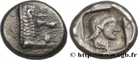 CARIA - KNIDOS Type : Drachme  Date : c. 465-449 AC.  Mint name / Town : Cnide  Metal : silver  Diameter : 15,5  mm Orientation dies : 11  h. Weight :...