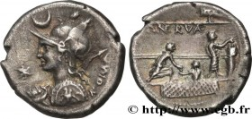 LICINIA Type : Denier  Date : 113-112 AC.  Mint name / Town : Rome  Metal : silver  Millesimal fineness : 950  ‰ Diameter : 18,5  mm Orientation dies ...