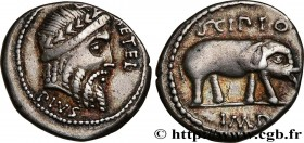 SCIPIO Type : Denier  Date : 47-46 AC.  Mint name / Town : Afrique  Metal : silver  Millesimal fineness : 950  ‰ Diameter : 17,5  mm Orientation dies ...