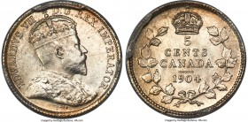 Edward VII 5 Cents 1904 MS65 PCGS, London mint, KM13. A small but impressive specimen, complete with flashy argent surfaces and a halo of amber color ...