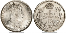 "Edward VII ""Round Leaves - Bow Tie"" 5 Cents 1909 MS64 PCGS, Ottawa mint, KM13. Round Leaves and Bow Tie variety. With speckled graphite tone over the ..."