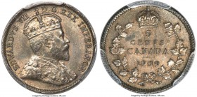 "Edward VII ""Round Leaves - Cross/Bow Tie"" 5 Cents 1909 MS62 PCGS, Ottawa mint, KM13. Round Leaves and Cross/Bow Tie variety. A very pleasing coin with..."