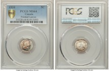 "Edward VII ""Pointed Leaves"" 5 Cents 1910 MS64 PCGS, Ottawa mint, KM13. Pointed Leaves variety. A mottled blend of copper, honey, and teal sit within t..."