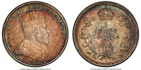 "Edward VII ""Round Leaves"" 5 Cents 1910 MS64 PCGS, Ottawa mint, KM13. Round Leaves variety. Attractively dappled with rainbow hues--coppery reds at the..."
