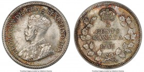 George V 5 Cents 1915 MS65 PCGS, Ottawa mint, KM22. Uncommon at the gem level grade, this sharply detailed offering boasts a full coverage of satiny l...