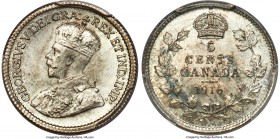 George V 5 Cents 1916 MS66 PCGS, Ottawa mint, KM22. An especially choice example with muted teal color accentuating the frosted, argent planchet, cris...