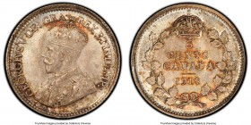 George V 5 Cents 1918 MS65+ PCGS, Ottawa mint, KM22. Warm peach and crimson tones reside in the protected areas of this small but mighty jewel, with d...