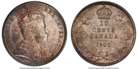 Edward VII 10 Cents 1903 MS63 PCGS, London mint, KM10. From a notably scarcer date in the series, and produced with a mintage of just 500,000, this vi...