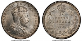 Edward VII 10 Cents 1904 MS63 PCGS, London mint, KM10. Satin-textured with fresh luster over both sides, crisp detailing across the designs and only m...