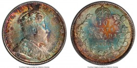 Edward VII 10 Cents 1906 MS64 PCGS, London mint, KM10. Possessing jaw-dropping multicolored tone on both sides and carefully preserved surfaces. Condi...