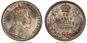 Edward VII 10 Cents 1907 MS64+ PCGS, London mint, KM10. Slightly soft on Edward's portrait, but essentially gem, presenting originality in the form of...