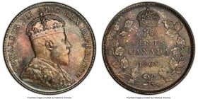 Edward VII 10 Cents 1908 MS65 PCGS, Ottawa mint, KM10. A superb jewel, the surfaces are saturated in shades of rose and teal color. Motifs over both s...