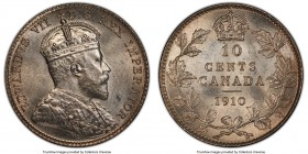 Edward VII 10 Cents 1910 MS64 PCGS, Ottawa mint, KM10. A true delight with satin-textured devices, clear fields, and a light blush tone at the margins...