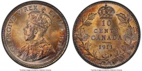 George V 10 Cents 1911 MS66+ PCGS, Ottawa mint, KM17. Visually outstanding with strokes of copper and plum nestled in the fields, frost-coated imagery...