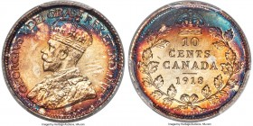 George V 10 Cents 1918 MS66+ PCGS, Ottawa mint, KM23. A remarkable offering, hard to imagine finer, with deeply saturated crimson, cerulean, and peach...