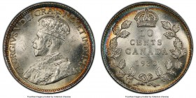 George V 10 Cents 1930 MS65 PCGS, Ottawa mint, KM23a. Argent centers are beautifully framed by thin crescents of rainbow tone. A fabulous gem with imm...