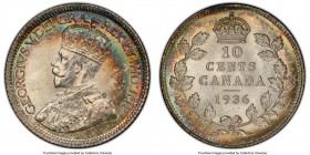 George V 10 Cents 1936 MS66 PCGS, Royal Canadian mint, KM23a. A wonderfully sharp strike coupled with crescents of rainbow color at the margins and fu...