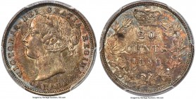 "Victoria ""Re-engraved 5"" 20 Cents 1858 MS64 PCGS, London mint, KM4. Re-engraved 5 variety. Saturated in earthen colors, this highly collectible one-ye..."