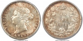 "Victoria ""7/7"" 25 Cents 1872-H MS63 PCGS, Heaton mint, KM5. Obverse 2, 7/7 overdate variety. Lustrous, with autumnal hues that overlay the argent surf..."