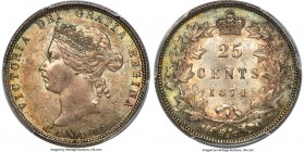 Victoria 25 Cents 1874-H MS64 PCGS, Heaton mint, KM5. An original example, practically gem, with incredible pastel tone that frames the obverse legend...