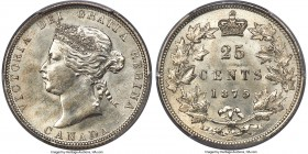Victoria 25 Cents 1875-H MS63 PCGS, Heaton, KM5. Rare, key date for the series, with silvery-white satin tone over both sides. The devices retain a pl...