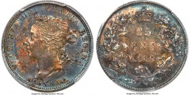 Victoria 25 Cents 1886 MS62 PCGS, London mint, KM5. Darkened cerulean and amber tones deeply saturate both sides of the planchet, emphasizing a bold s...