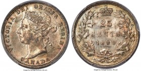 Victoria 25 Cents 1889 MS63 PCGS, London mint, KM5. Mintage: 66,340. An undeniable key, the 1889 asserts the lowest mintage figure for the series. Thi...