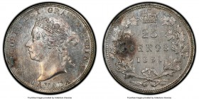 Victoria 25 Cents 1891 MS61 PCGS, London mint, KM5. Mint State, with lavender color woven through the gunmetal surfaces and two darker areas of tone n...