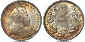 Edward VII 25 Cents 1902-H MS66+ PCGS, Heaton mint, KM11. Another impeccably toned selection, showing subtle turquoise color at the centers that trans...