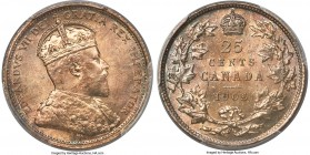 Edward VII 25 Cents 1905 MS66 PCGS, London mint, KM11. Draped in vibrant hazel tone that brightens from the recesses when rotated, this stunning gem c...