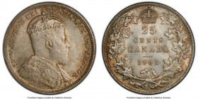 Edward VII 25 Cents 1908 MS65+ PCGS, Ottawa mint, KM11. Velveteen texture over both sides, with attractive dove-gray central tone and amber color that...