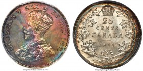 George V 25 Cents 1911 MS66 PCGS, Ottawa mint, KM18. Deeply toned with dramatic rainbow hues across the obverse surfaces, absolutely saturating the Ki...