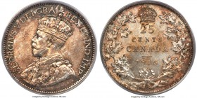 George V 25 Cents 1916 MS65 PCGS, Ottawa mint, KM24. Mottled gray-gold patina transforms the surfaces of this gem, while full underlying luster radiat...