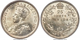 George V 25 Cents 1927 MS65 PCGS, Ottawa mint, KM24a. An earlier date from this series, fully gem, with frosted champagne-hued surfaces smooth as silk...