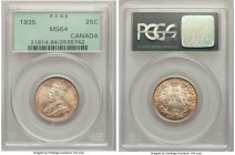 George V 25 Cents 1935 MS64 PCGS, Royal Canadian mint, KM24a. Vibrant amber tone permeates the surfaces of this alluring near-gem, with only trivial m...