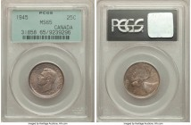 George VI 25 Cents 1945 MS65 PCGS, Royal Canadian mint, KM35. Expressing hazel-gray coloration with ample luster that sets the fields aglow. A true ge...