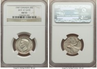 "George VI ""Dot After Date"" 25 Cents 1947 AU53 NGC, Royal Canadian mint, KM35. Dot after date variety. A fine representative of this scarcer variety, s..."