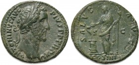 ANTONINUS PIUS (138-161). As. Rome./Obv: ANTONINVS AVG PIVS P P TR P XV./Rev: SALVS AVG / S - C /COS IIII.Condition: Good very fine.Weight: 11.21 g.Di...