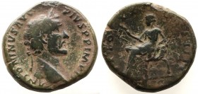 Antoninus Pius. AD 138-161. Æ Sestertius,Laureate bust right, slight drapery / Indulgentia seated left, extending hand and holding scepter; Dark green...