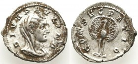 Diva Paulina AR Denarius. Rome, AD 235-8. DIVA PAVLINA, veiled and draped bust right / CONSECRATIO,2.0.g
