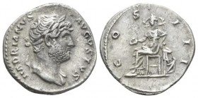 Hadrian, 117-138 Denarius plated circa 132-134, AR 18mm., 2.34g. Bare headed bust r., with drapery on l. shoulder. Rev. Galley rowed l. by five oarsme...