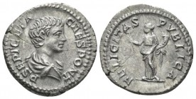 Geta as caesar, 198-209. Denarius circa 198-200, AR 28mm., 3.16g. Bare-headed and draped r. Rev.Felicitas standing facing, head to l., holding caduceu...